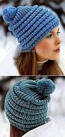 Женская вязаная шапка зима