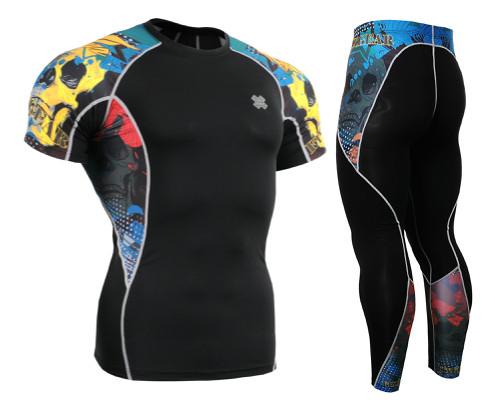 Комплект компрессионная футболка Fixgear и компрессионные штаны C2S-B46+P2L-B46