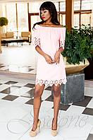Модное персиковое платье-туника Кения Jadone Fashion 42-50 размеры
