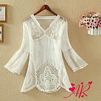 Блуза Белая Ажур Красивая Рубашка Кружево Роза Бохо Кофточка