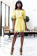 Модное желтое платье-туника Кения Jadone Fashion 42-50 размеры
