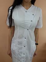 Женский медицинский халат на пуговицах белая, 48