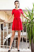 Женское красное платье-туника Ригана Jadone Fashion 42-50 размеры