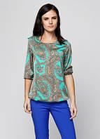 Блузка из шелка с цветным рисунком зеленый цвет