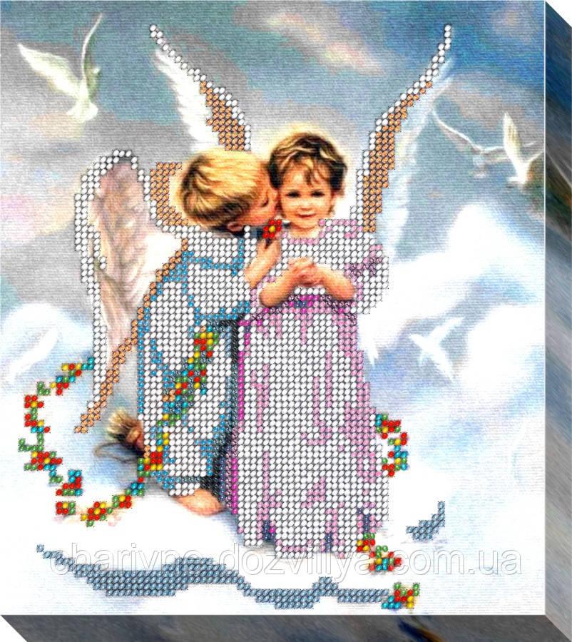 """Набор для вышивки бисером на хлопковом холсте """"Ангелочки"""""""