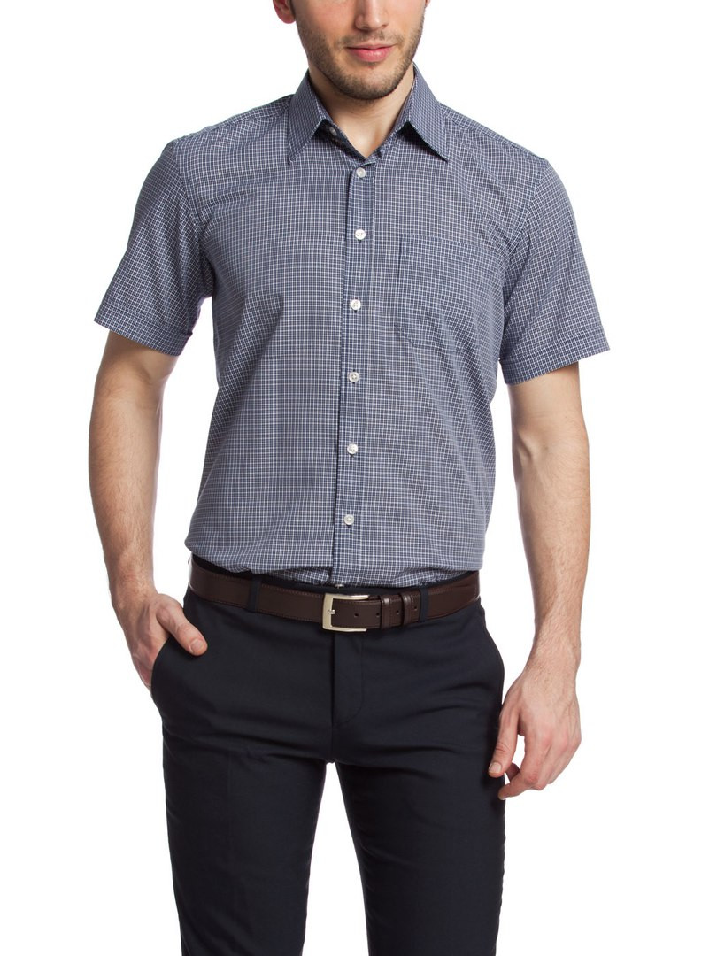 Мужская рубашка LC Waikiki с коротким рукавом серо-белого цвета