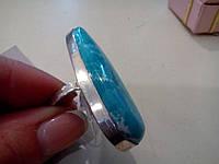 Кольцо с камнем под ларимар в серебре.