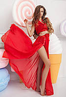 Туника шифоновая с пуговицами-размер универсальный Цвета-розовый, голубой, электрик, зеленый ,красный яя№01383