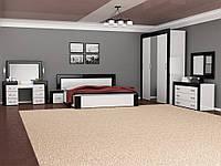 Спальня Виола двух видов шкаф, прикроватные тумбы, комод, зеркало с туалетным столиком, кровать