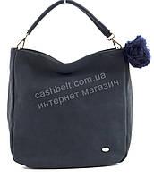 Стильная наплечная оригинальная женская сумка среднего размера с пушистым брелком DAVID JONES art. 3207 синяя