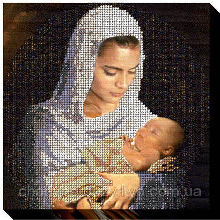 """Набор для вышивки бисером на хлопковом холсте """"Мама и младенец"""", фото 2"""