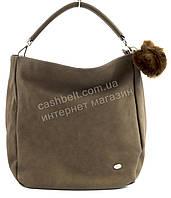 Стильная наплечная оригинальная женская сумка среднего размера с пушистым брелком DAVID JONES art. 3207 коричн