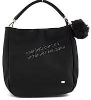 Стильная наплечная оригинальная женская сумка среднего размера с пушистым брелком DAVID JONES art. 3207 черный