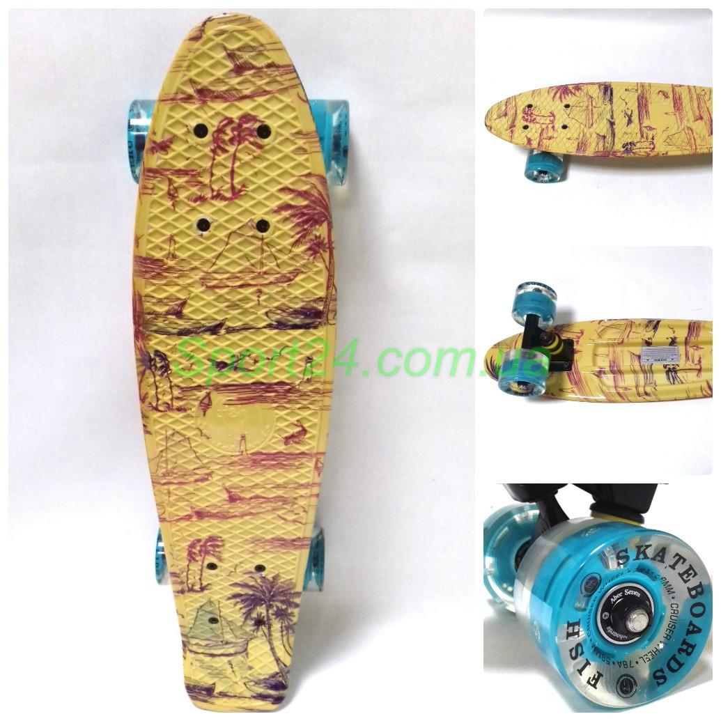Пенни борд 22 Фиш  Africa, светящиеся колеса (penny board fish)