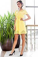 Женское желтое платье-туника Ригана  Jadone Fashion 42-50 размеры
