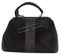 Стильная  вместительная женская сумка саквояж с вставкой со стразами  FORSTMANN art. 6697 черная