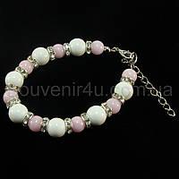 Браслет из белого агата и розового кварца (D=10мм,8мм) 'B58-0'