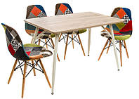 Стол обеденный ТМ-43 бежевые ножки, столешница МДФ дуб сонома, стиль лофт, модерн, Charles Eames style