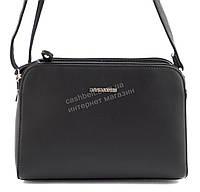 Компактная прочная стильная женская оригинальная сумка почтальонка DAVID JONES art. 3348 черная