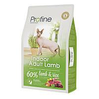 Profine Cat Indoor Adult Lamb сухой корм с ягненком для домашних котов и кошек против образования комков шерсти в ЖКТ, 10кг