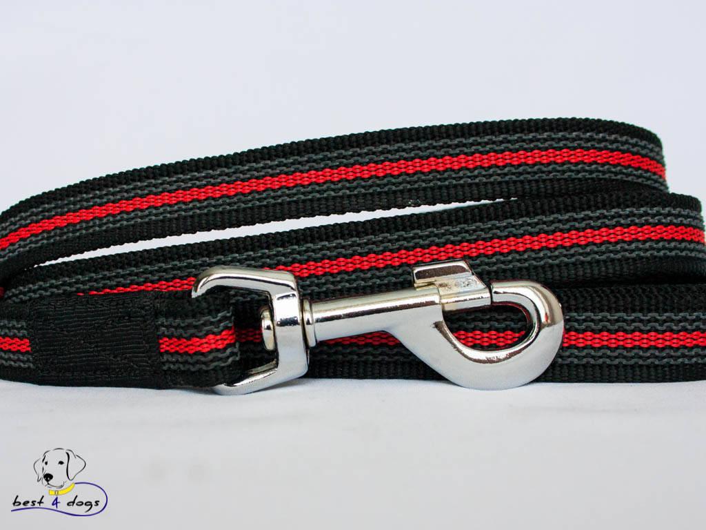 Поводок прорезиненный Черно-Красный 20мм