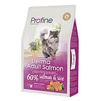 Profine Cat Derma Adult Salmon сухой корм с лососем для здоровья кожи и шерсти котов и кошек, 10кг