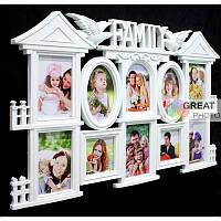Фоторамка коллаж в виде дома на 10 фото Family белая