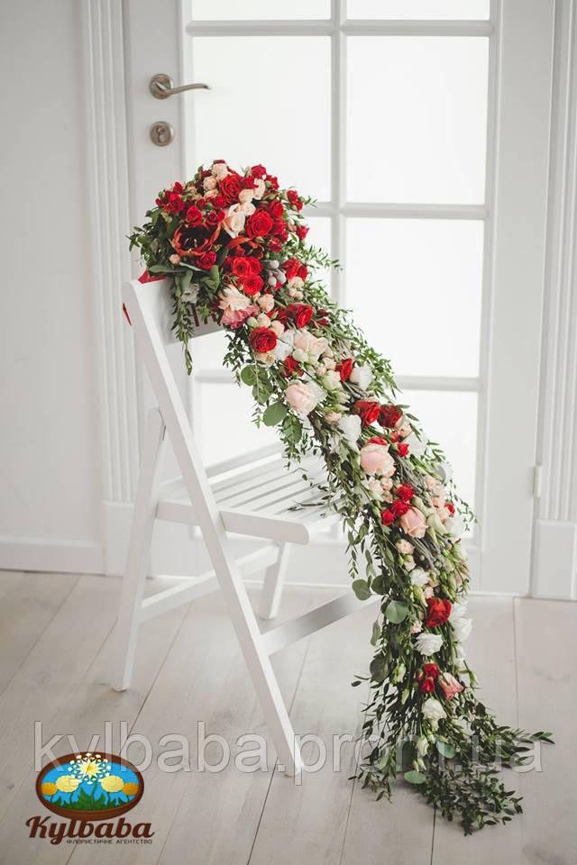 Креативный букет невесты выполненый на каркасе