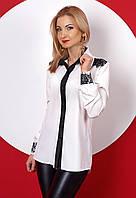 Женская блуза с длинным рукавом белого цвета с кружевом. Модель 384. 42, Белый