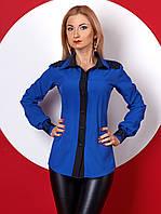 Женская блуза с длинным рукавом цвета электрик с кружевом. Модель 384. Электрик, 50