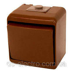 Выключатель 1-клавишный (коричневый) (IP44) VHE-1-KR