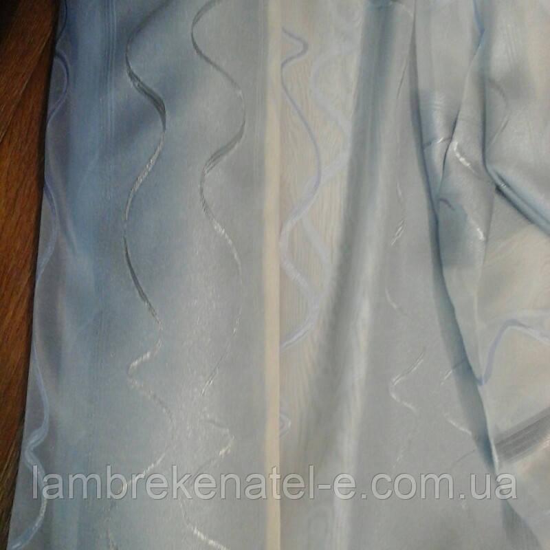 Тюль полоса нежно серо-голубая