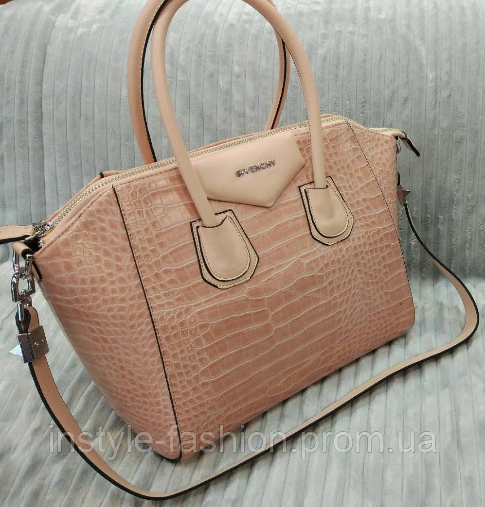Сумка брендовая Givenchy под рептилию цвет пудра - Сумки брендовые,  кошельки, очки, женская a6e4540931d