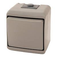 Выключатель 1-клавишный (серый) (IP44) VHE-1-SR