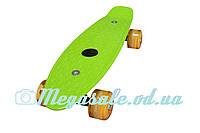 """Скейт пенни борд мини Penny Board Mini 17"""", салатовый: светящиеся колеса, размер 43см"""