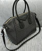 Сумка брендовая Givenchy под рептилию цвет серый