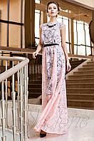 Длинное женское персиковое платье Лоран Jadone Fashion 42-50 размеры