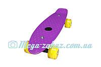 """Скейт пенни борд мини Penny Board Mini 17"""", фиолетовый: светящиеся колеса, размер 43см"""