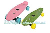 """Скейт пенни борд мини Penny Board Mini 17"""", розовый: светящиеся колеса, размер 43см"""