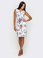 Элегантное льняное женское платье приталенного силуэта без рукавов90186, фото 1