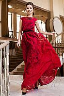 Длинное женское красное платье Лоран  Jadone Fashion 42-50 размеры