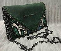 Клатч женский брендовый Stella McCartney на цепочке цвет зеленый