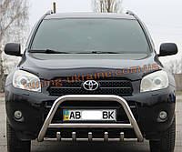 Защита переднего бампера кенгурятник из нержавейки на Toyota RAV4 2006-2010