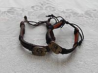 Кожаный браслет на руку с металличным знаком зодиака, фото 1