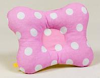 """Подушка для профилактики и лечения кривошеи и плоского затылка у новорожденных """"Белый горошек на розовом"""""""