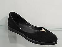 Балетки женские черные замша натуральная