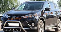 Защита переднего бампера кенгурятник из нержавейки на Toyota Rav4 2013-2015