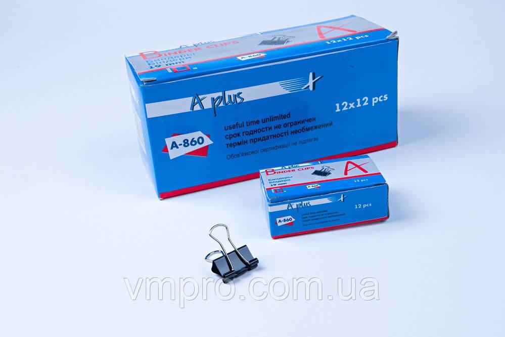 Біндер 19 mm №А-860,затиск для паперів, 144 шт/блок