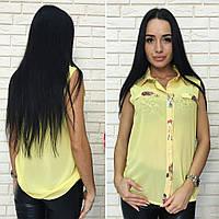 Женская яркая блузка без рукавов шифон