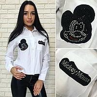 Женская белая  рубашка Микки